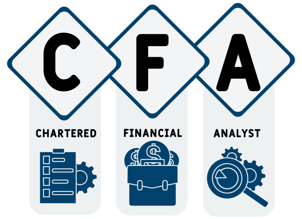 CFA - Chartered Financial Analyst  acronym. business concept background.  vector illustration concept with keywords and icons. lettering illustration with icons for web banner, flyer, landing